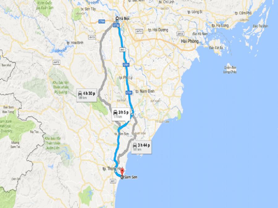 Sầm Sơn cách Hà Nội bao nhiêu km?